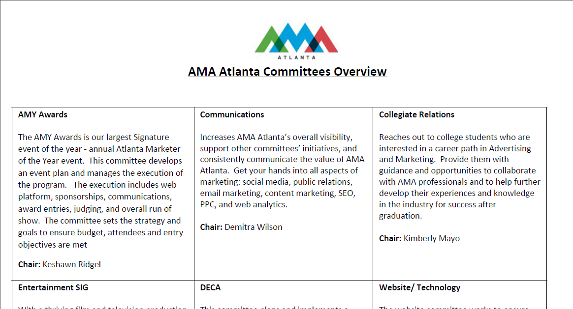 AMA Atlanta Committee Overview